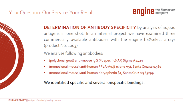 engine antibody specificity report presentation